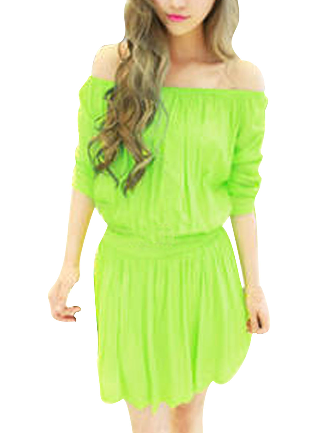 Woman Solid Color Apple Green Off-Shoulder Design Summer Mini Dress S