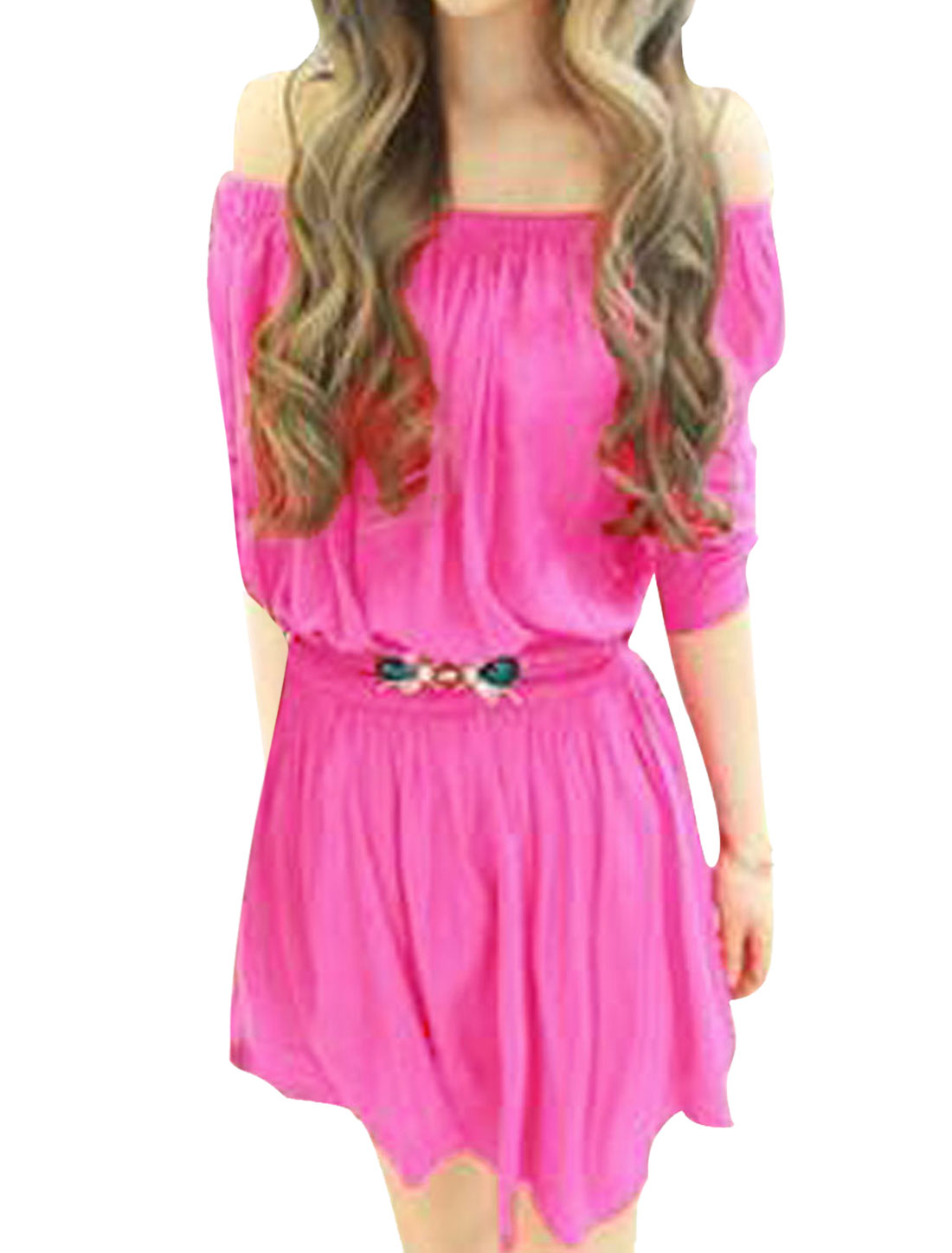 Lady Chic Pure Fuchsia Color Off-Shoulder Elastic Upper Summer Mini Dress S