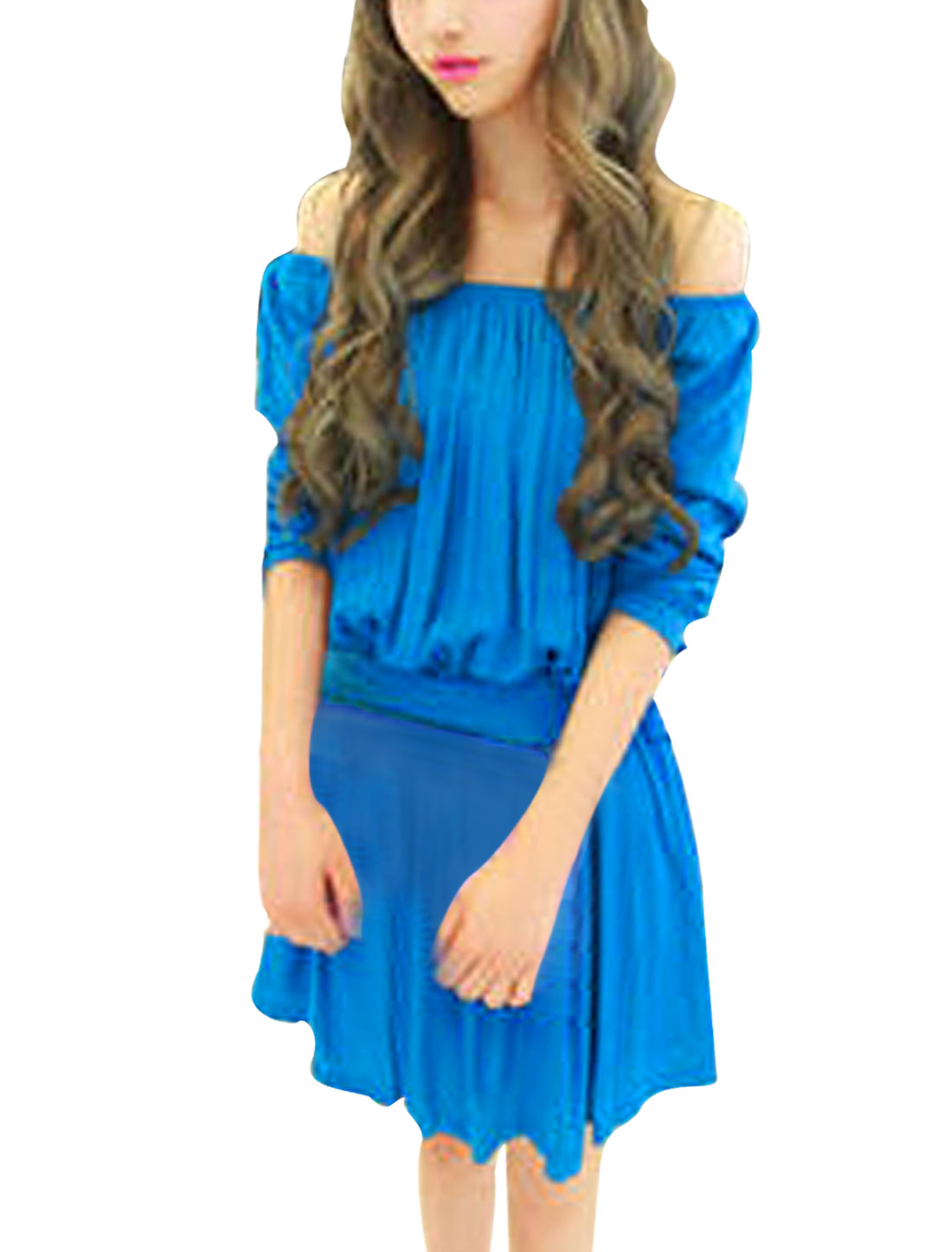 Ladies Off-Shoulder Design Lace Up Elbow Sleeve Royalblue Mini Dress S