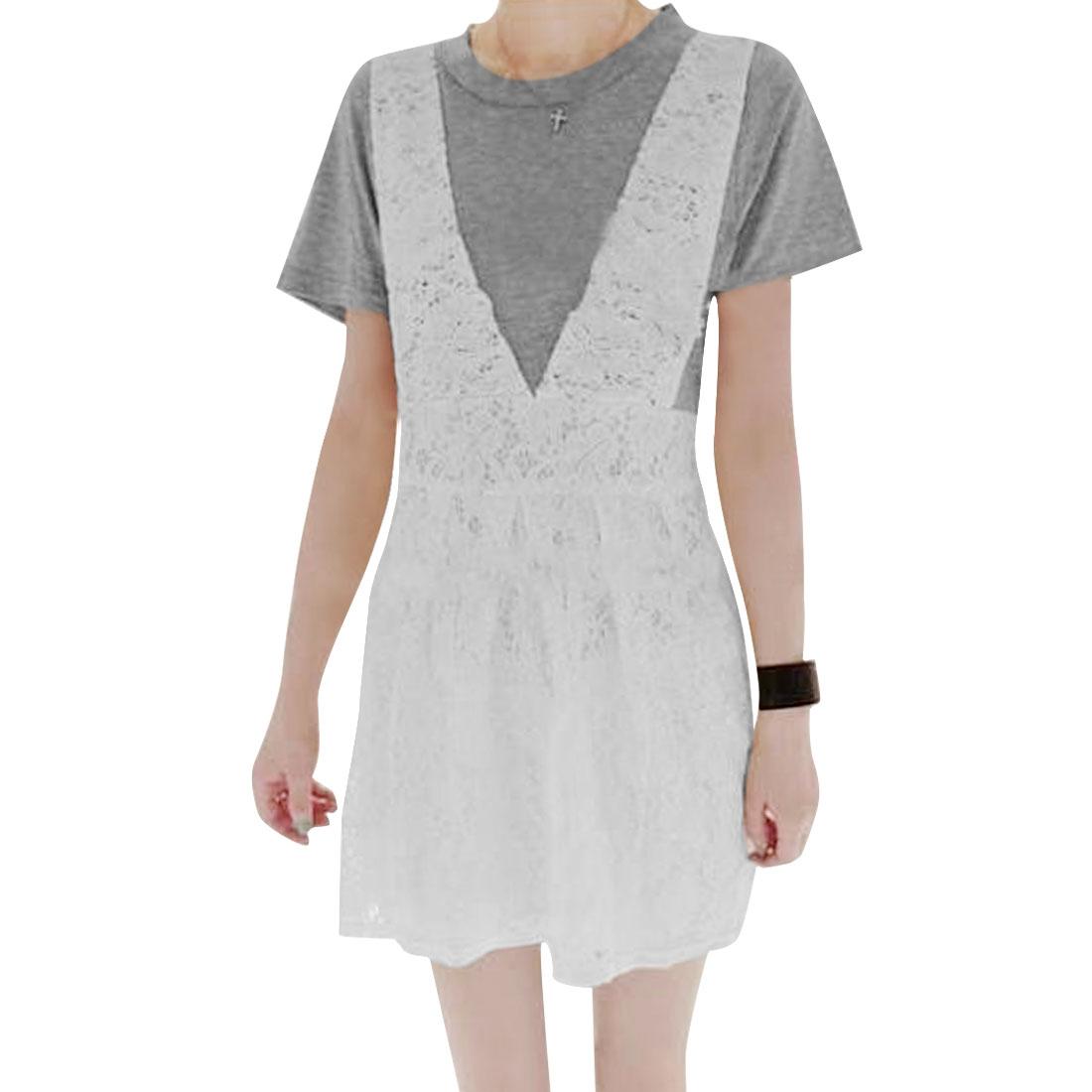 Lady Gray White Round Neck Short Sleeve Panel Round Hem Dress