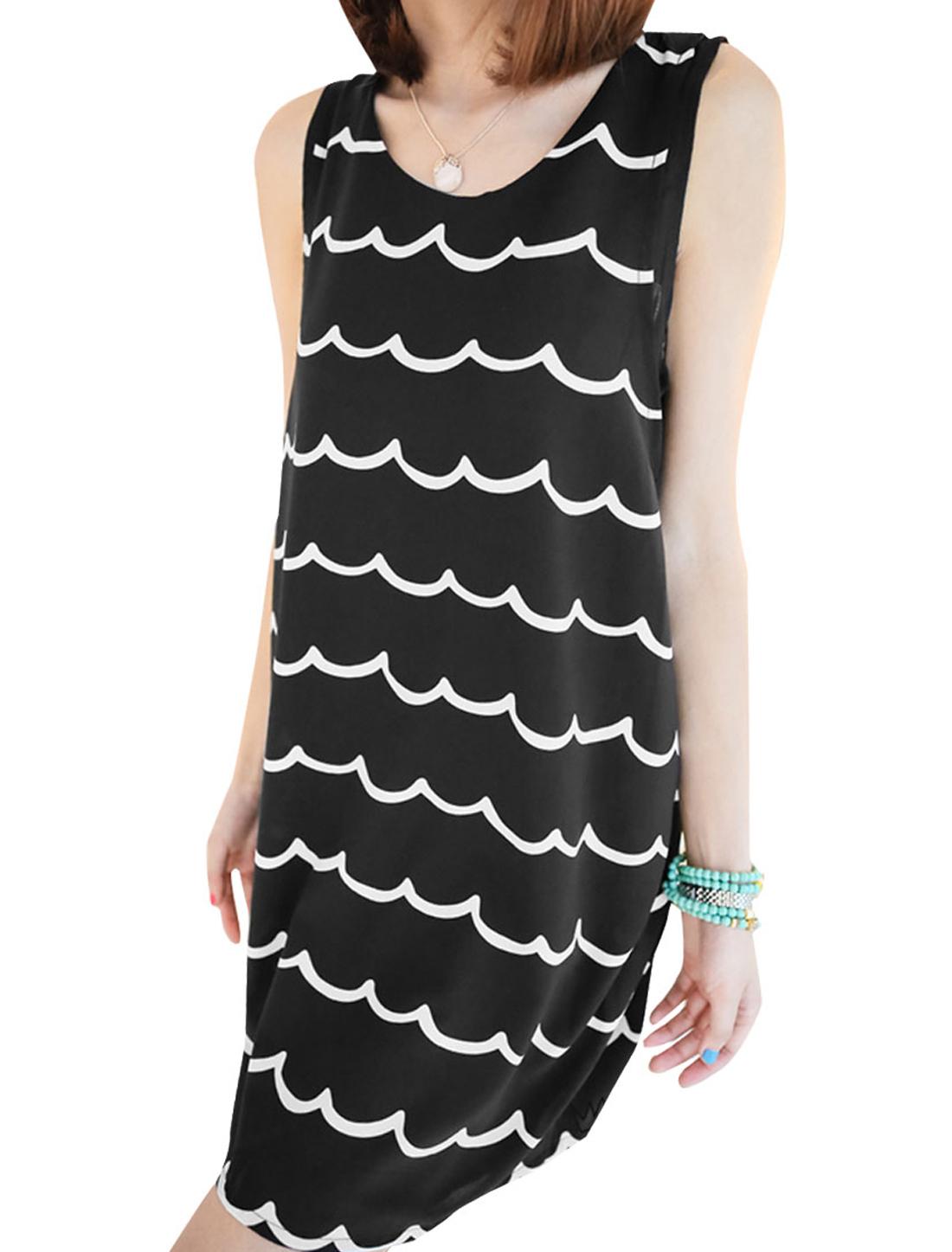 Lady Black Round Neck Sleeveless Layered Design Ripple Style Dress XS