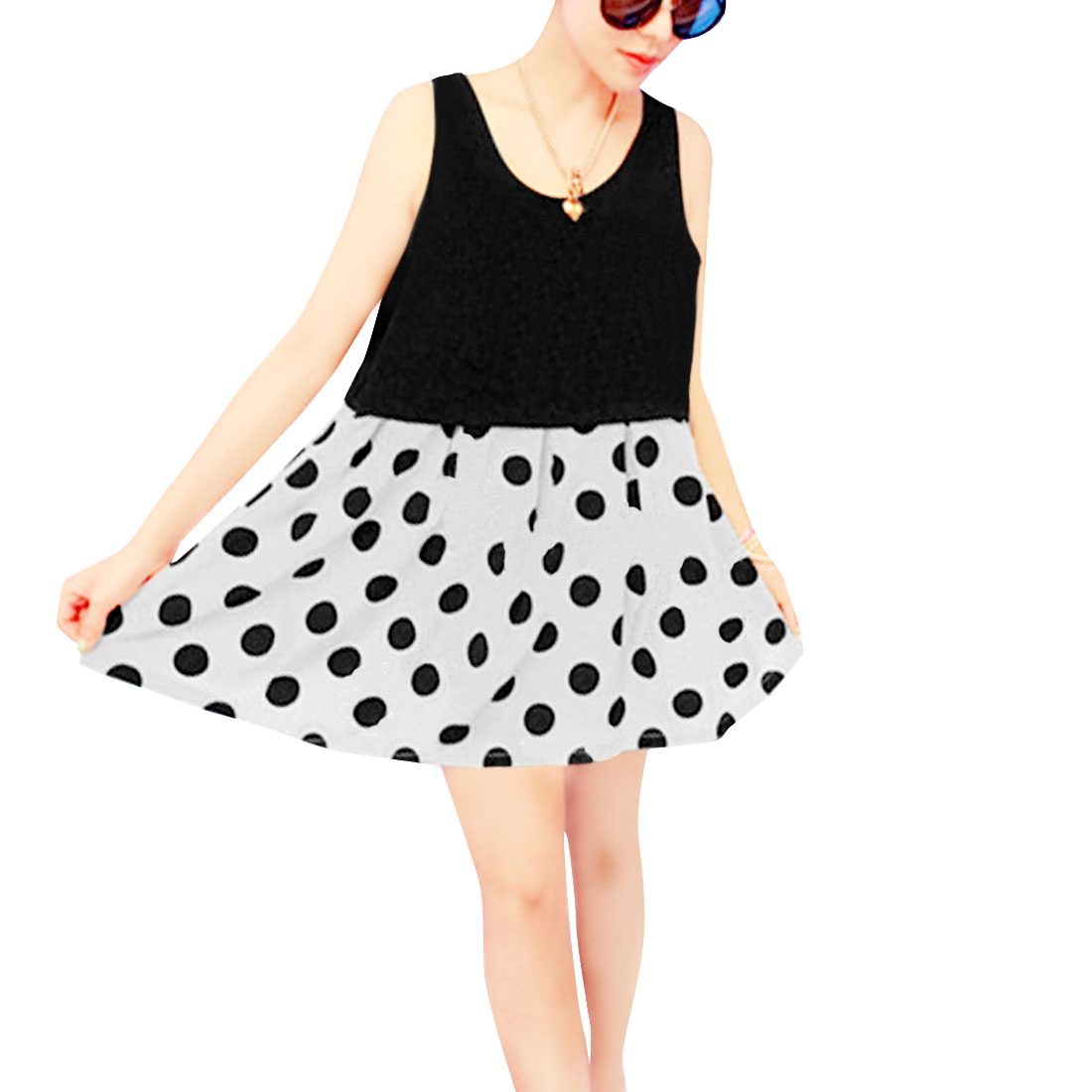 Lady White Black Round Neck Sleeveless Dots Prints Round Hem Dress XS