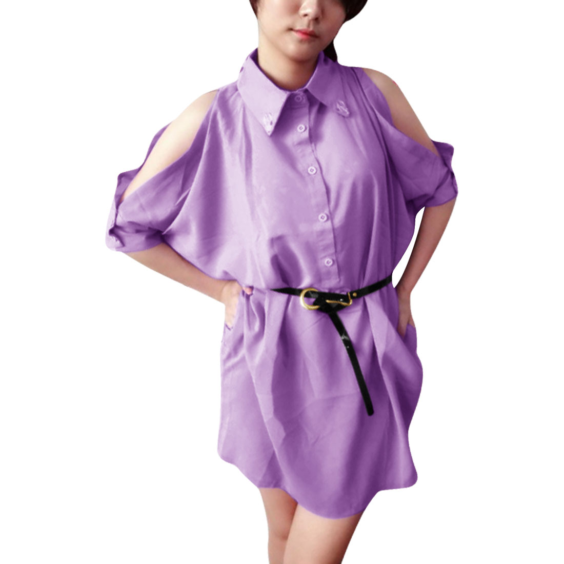Ladies Point Collar Pullover Belted Loose Shirt Lilac L