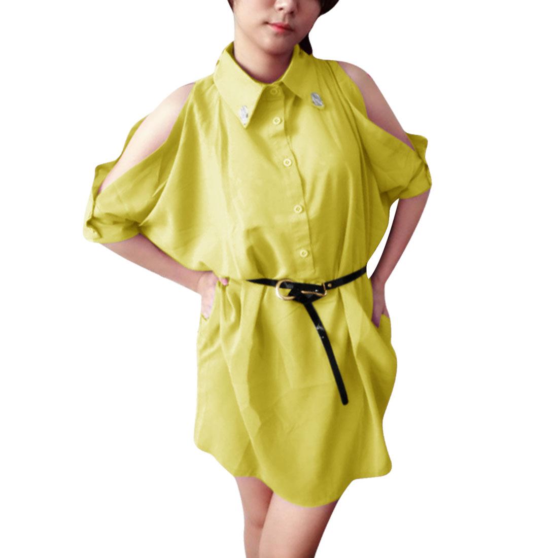Ladies Pullover Short Sleeve Rhinestone Decor Shirt Yellow L