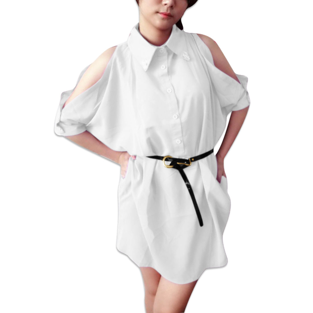Ladies Point Collar Cut Out Sleeve Loose Shirt White L