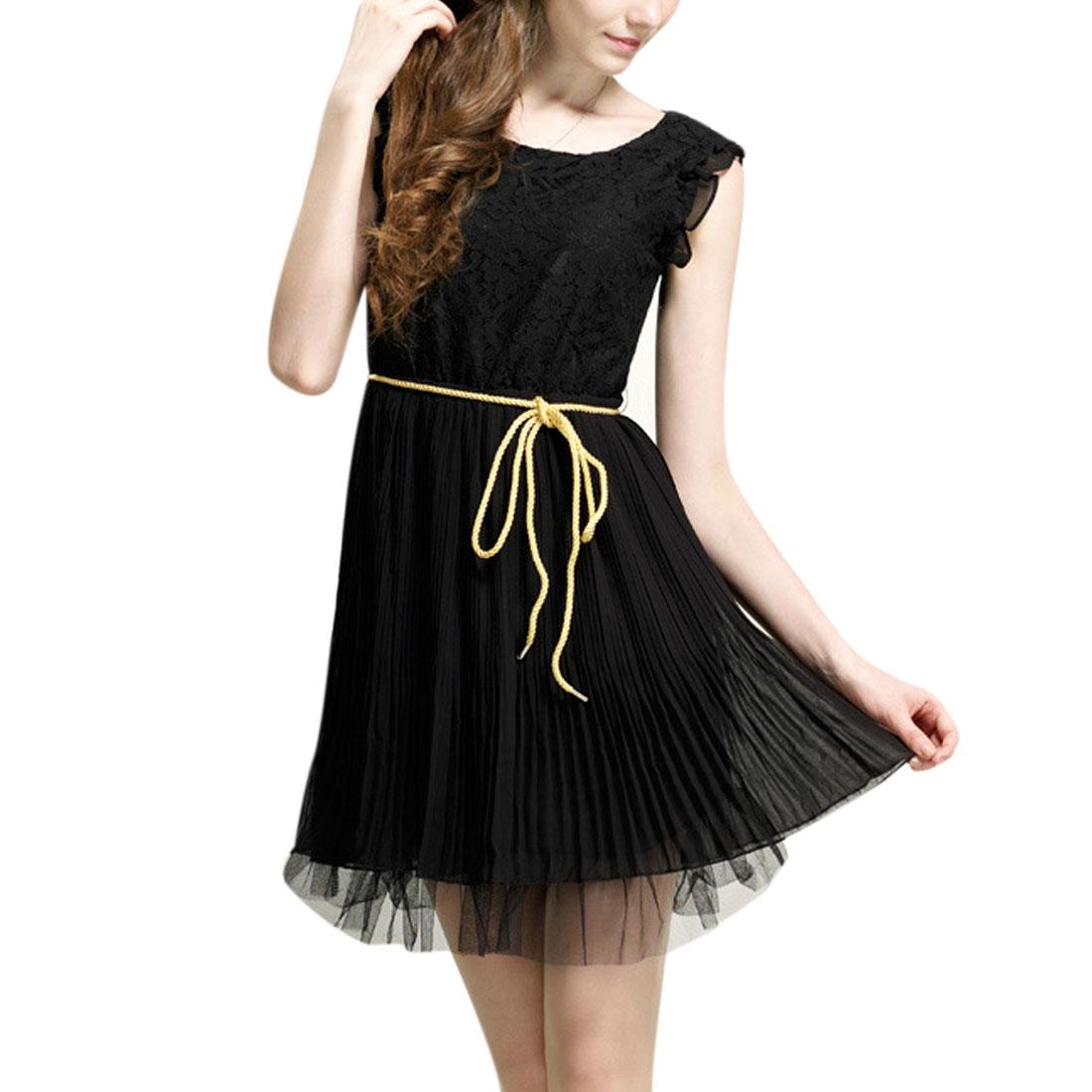 Women Zipper Up Round Neck Lace Pleated A Line Dress Black XS