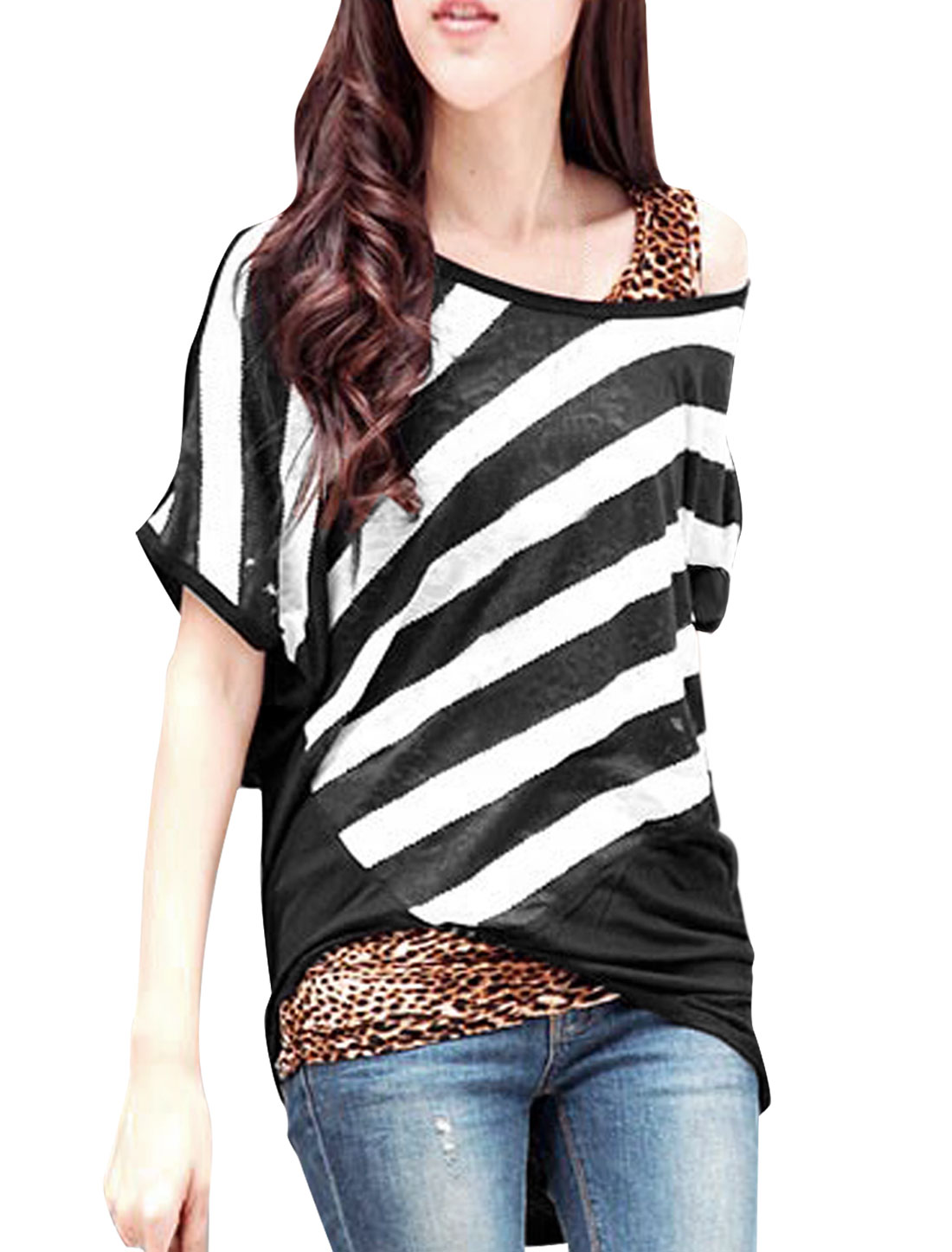 Lady Black Round Neck Batwing Sleeve Bar Striped Panel Top S