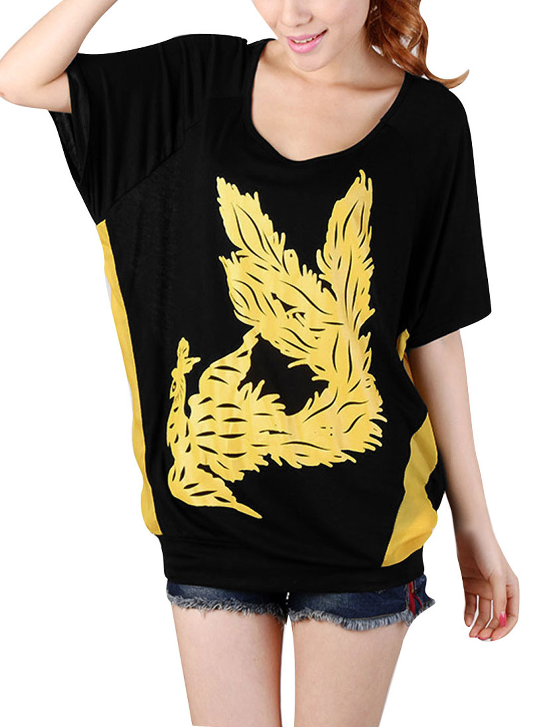 Ladies Scoop Neck Short Dolman Sleeve Black Yellow Phoenix Prints Tops M
