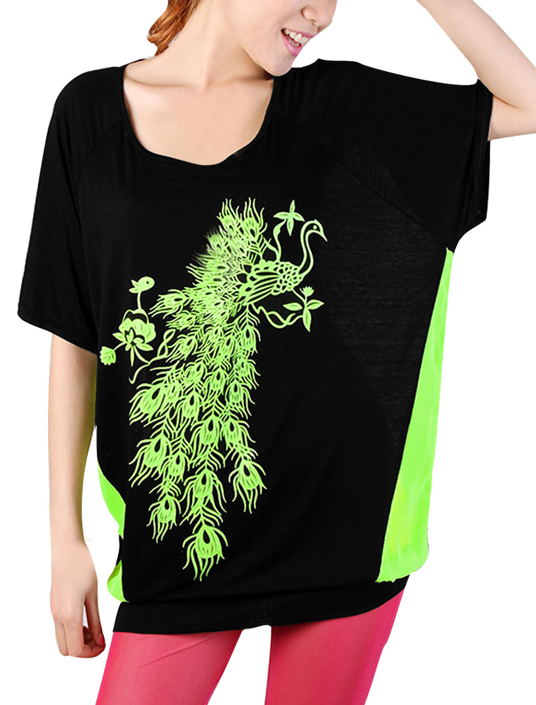 Women Semi-Sheer Back Design Peacock Pattern Bright Green Black Top Shirt M