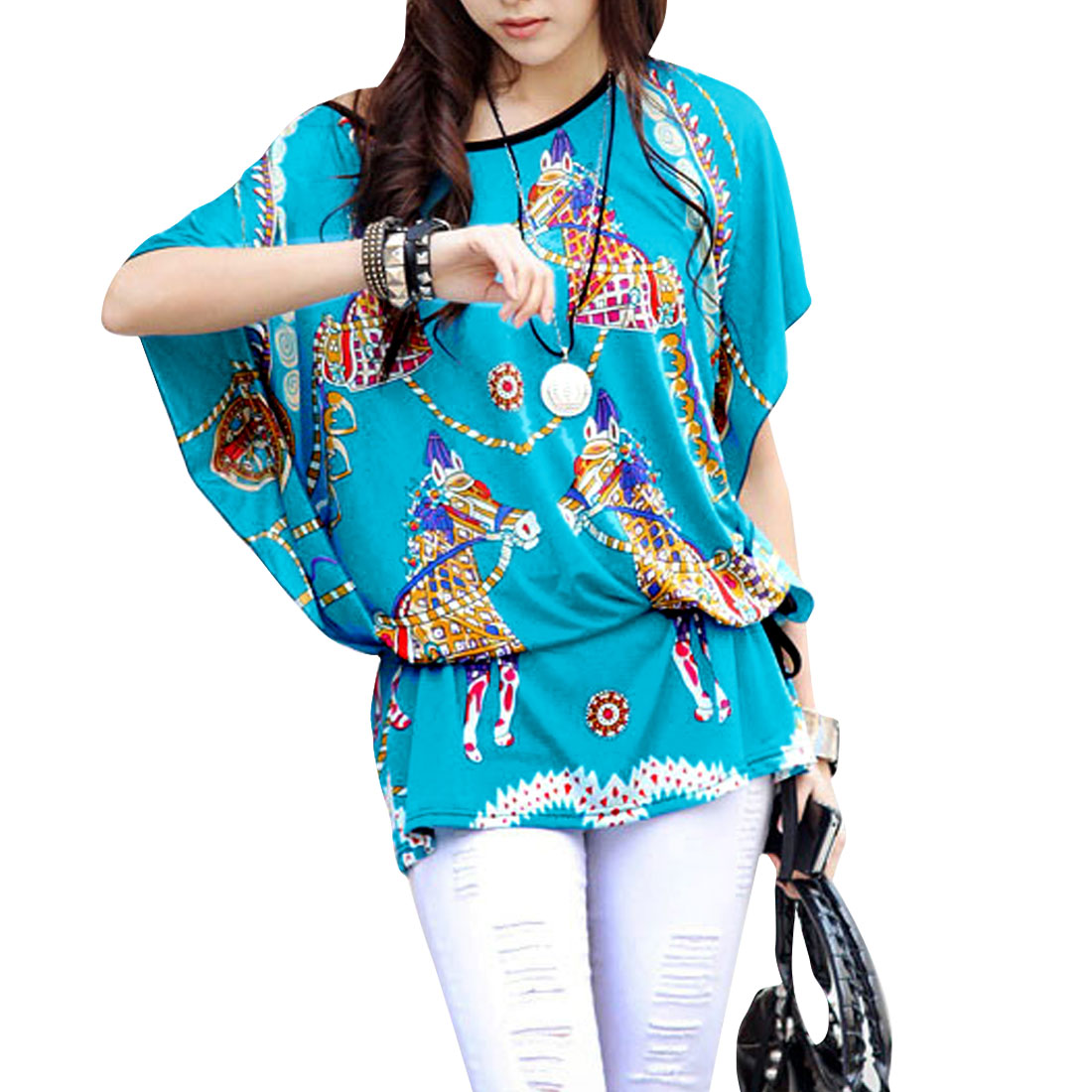 Women Round Neck Horse Pattern Batwing Sleeve Multicolor Tunic Shirt L Blue