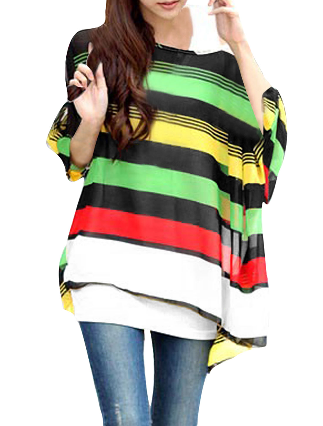 Women Batwing Sleeve Round Neck Semi Sheer Color Block Blouse White Green M
