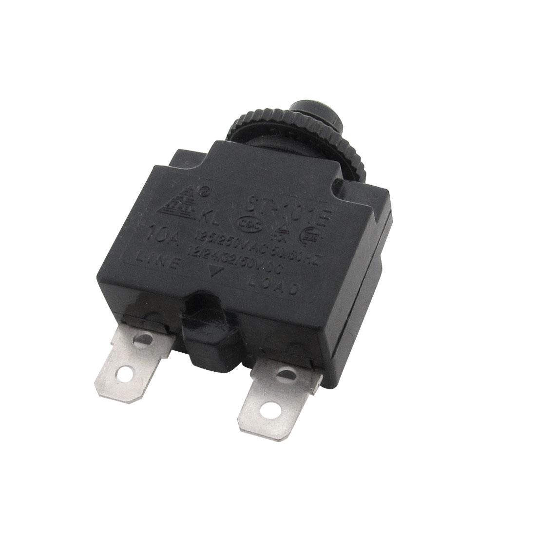 Black Air Compressor Circuit Breaker Overload Protector 10A DC 12/24/32/50V