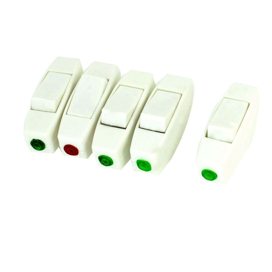 5 Pcs Home White Plastic 6A 250V Snap in SPST In-line Switch