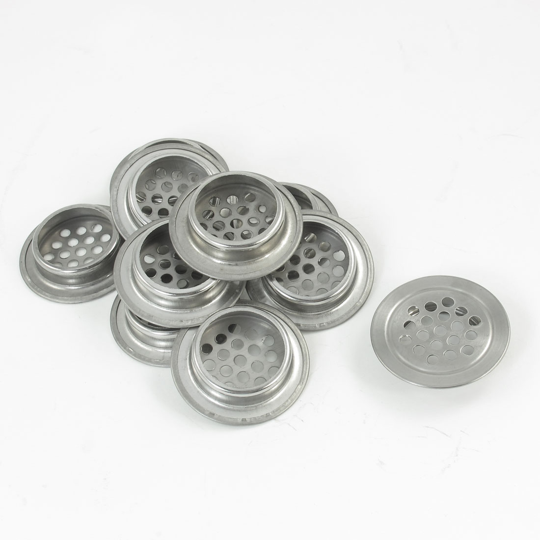 10 Pcs Home Round Silver Tone Metallic Mesh Hole Air Vent Louver