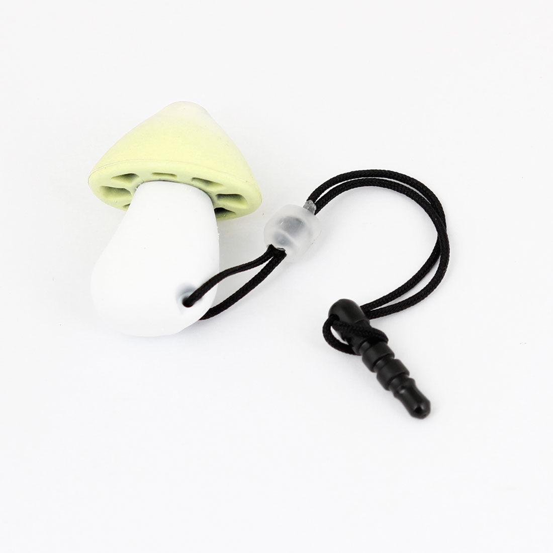 Yellow White Mushroom Design Phone 3.5mm Earphone Ear Cap Anti Dust Plug