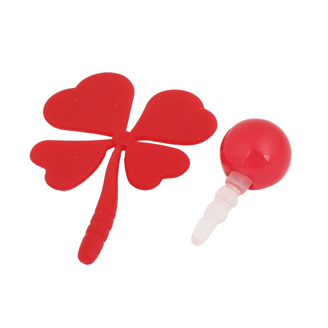 2 Pcs Red Bead Four Leaf Clover Design Phone 3.5mm Anti Dust Plug