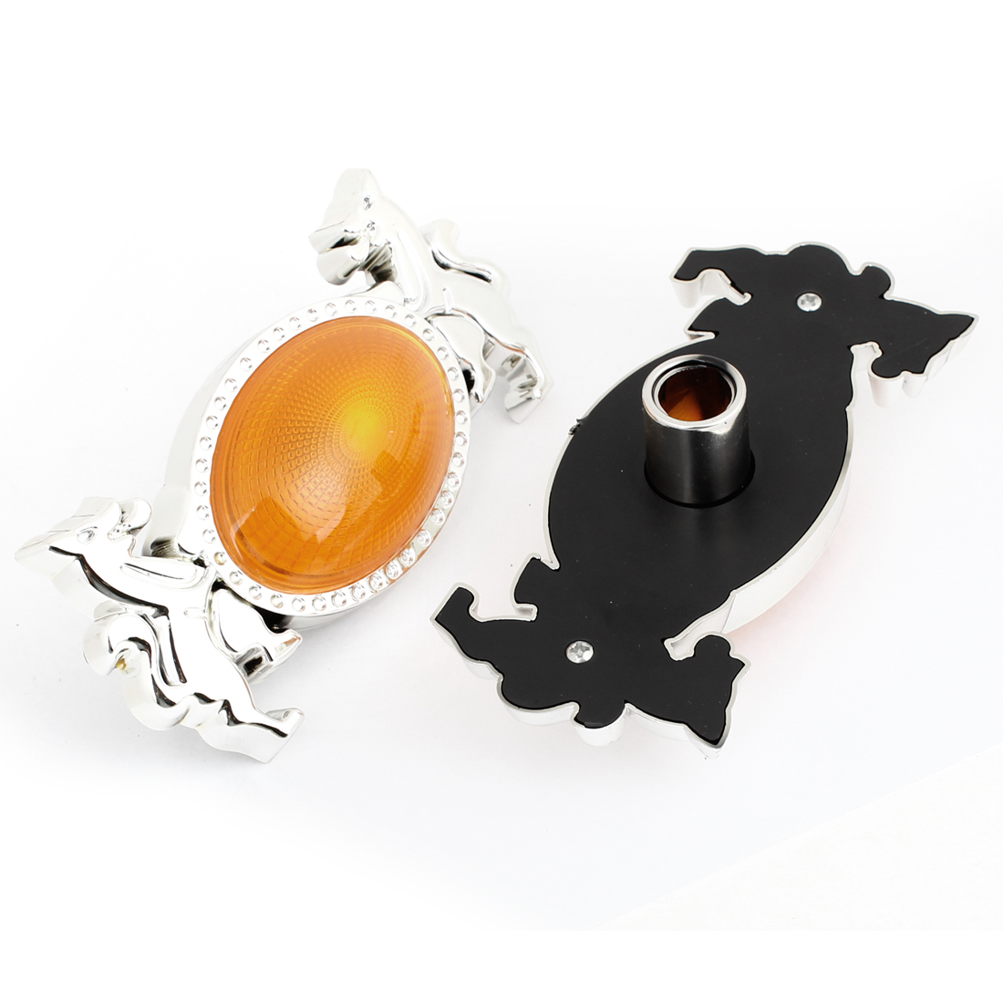 Orange Silver Tone Plastic Light Lamp Cover Guard 2pcs for Car