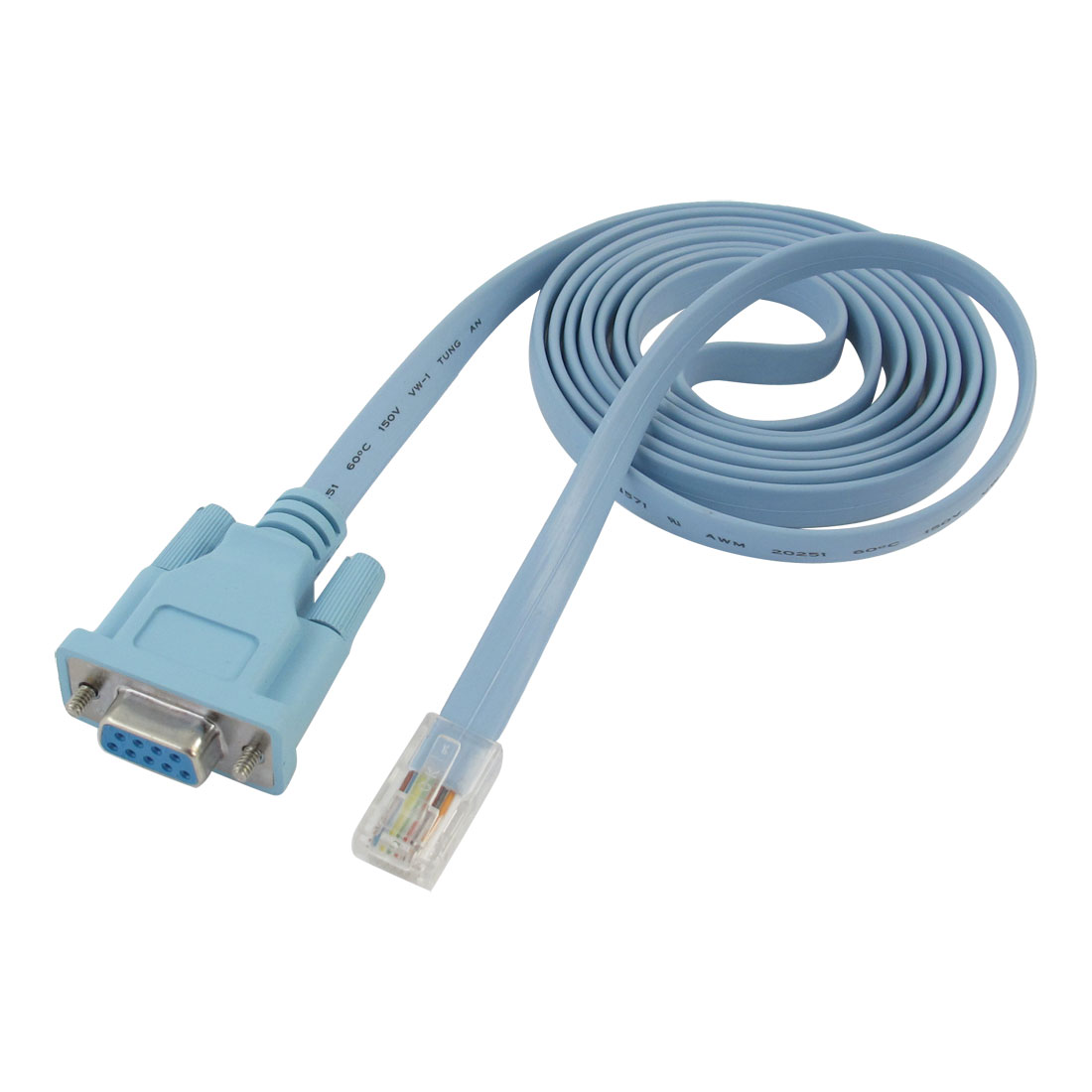 RJ45 Male to RS232 DB9 Female Plug Cable Adapter Light Blue 1.8M 5.9Ft