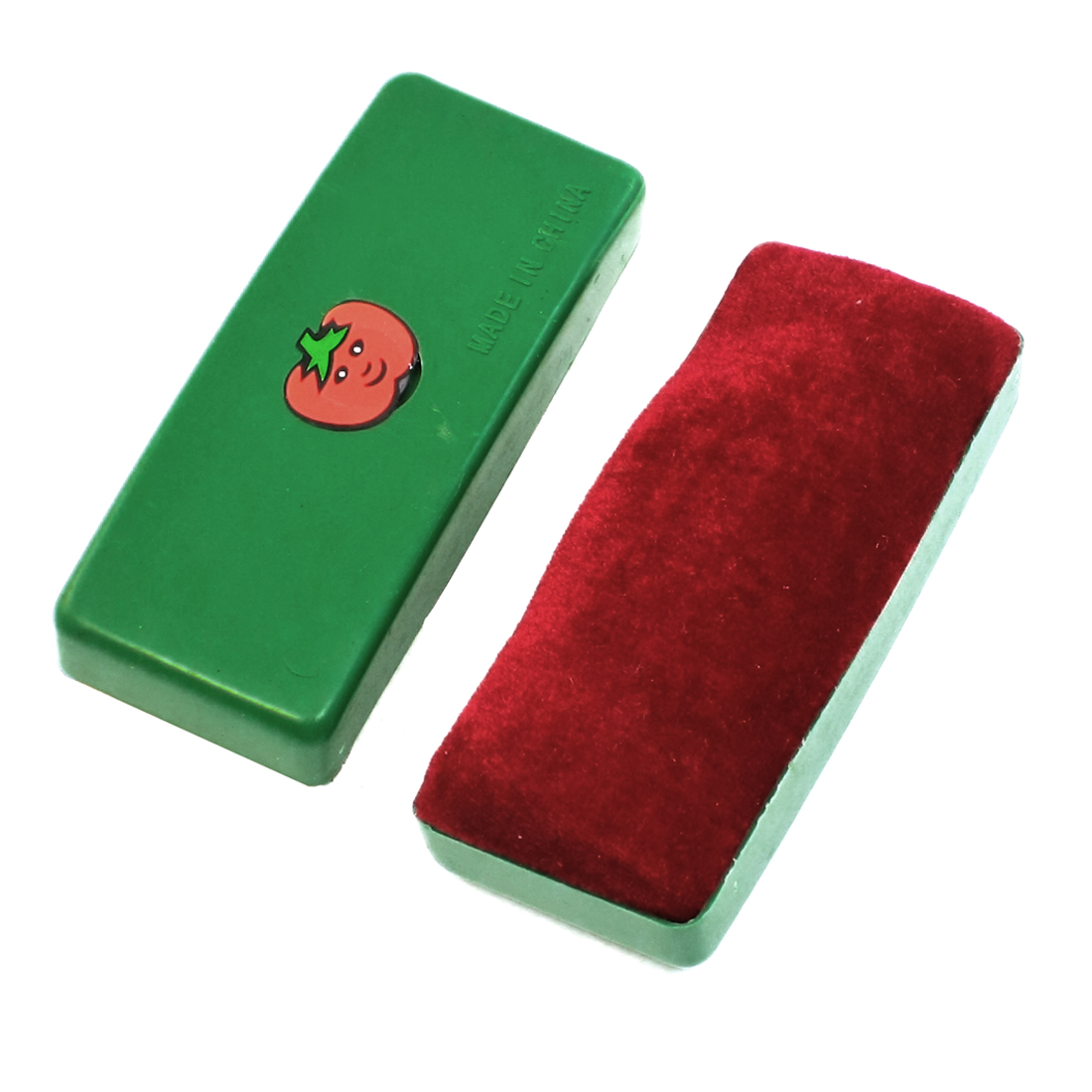 2 Pcs Green Plastic Casing Velvet Blackboard Eraser Chalk Cleaner