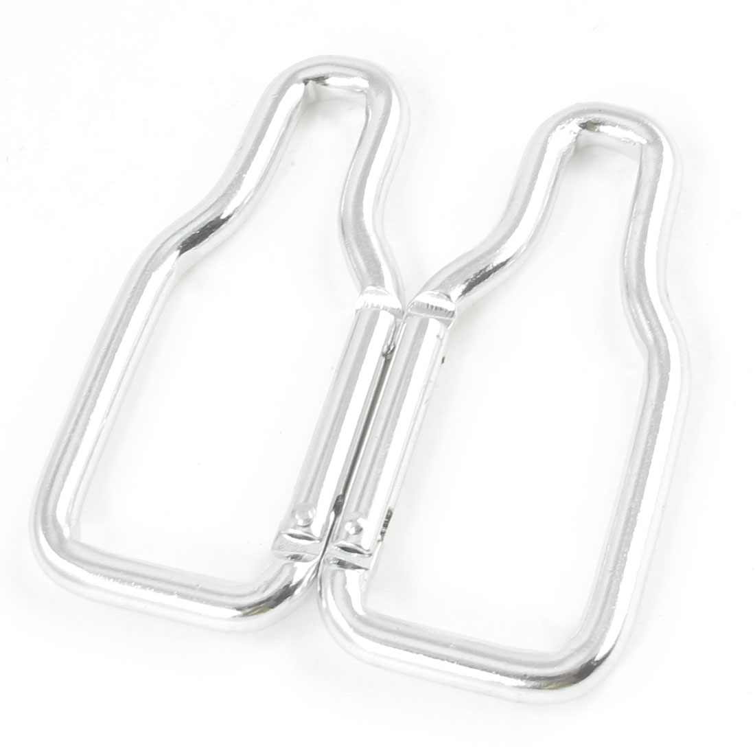 2 Pcs Silver Tone Bag Bottle Holder Aluminum Alloy Snap Clip Carabiner Hooks