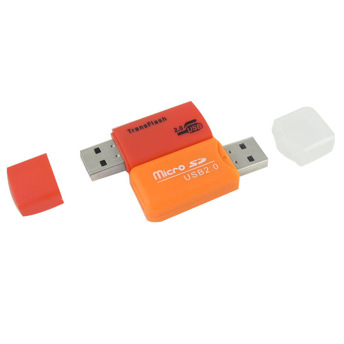 2 Pcs Orange Red Clear Plastic Houseing USB 2.0 TF Transflash Micro SD Memory Card Reader