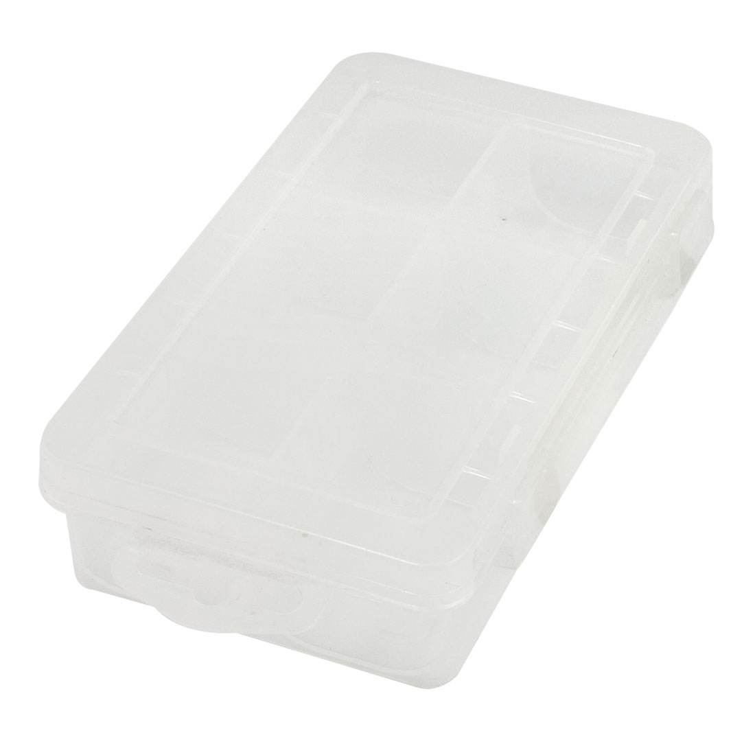 Clear White Plastic Electronic Components Storage Box 6 Compartments