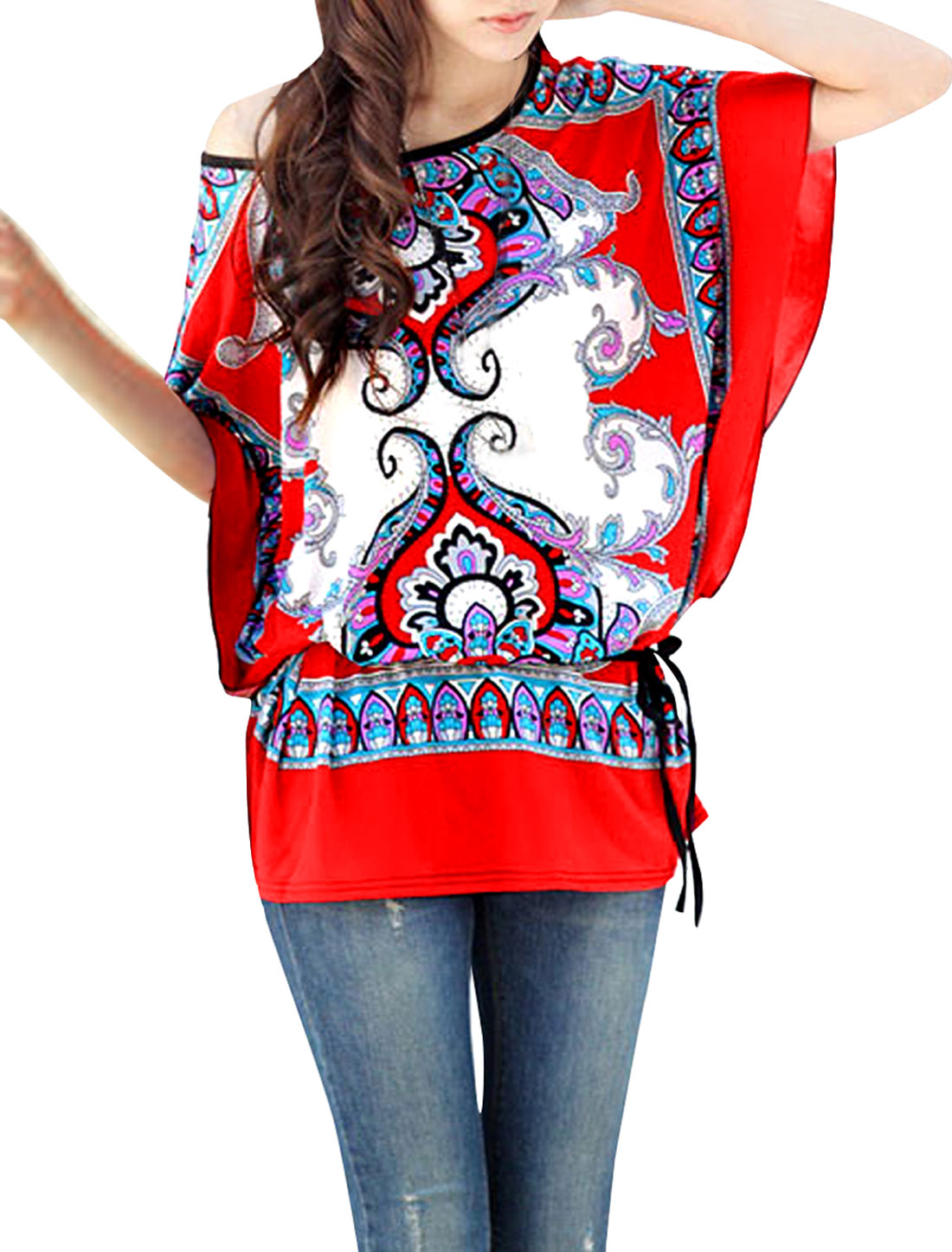 Ladies Round Neck Multicolor Batwing Sleeve Pullover Tunic Shirt L Red