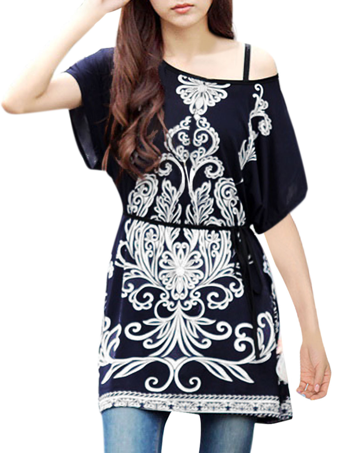 Woman Round Neck Batwing Porcelain Prints Modern Tops Blouses Dark Blue M
