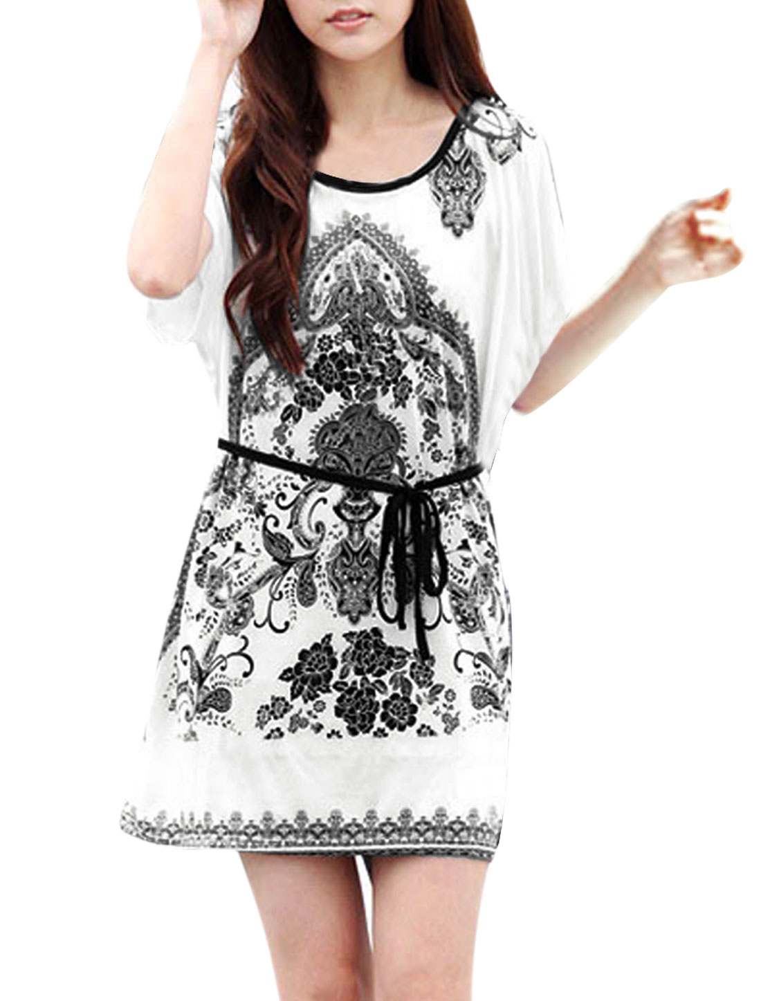 Ladies Short Sleeves Porcelain Prints Modern Tunic Shirts White M