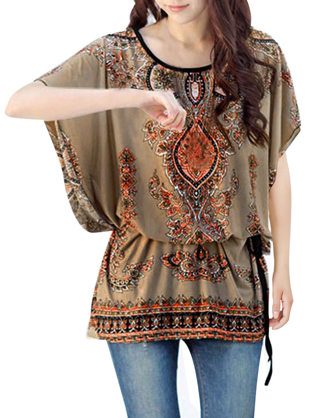 Ladies Batwing Sleeve Round Neck Stretchy Tunic Shirt Beige L