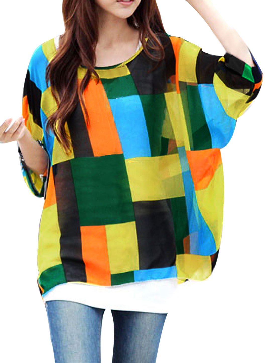 Ladies Batwing Sleeve Round Neck Style Semi Sheer Pullover Blouse Multicolor L