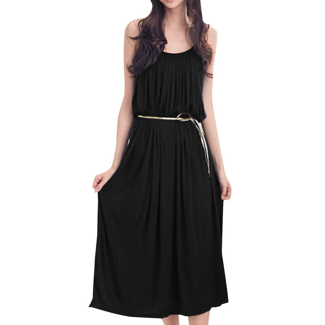 Ladies Sleeveless Braided Spaghetti Strap Tunic Dress Black S