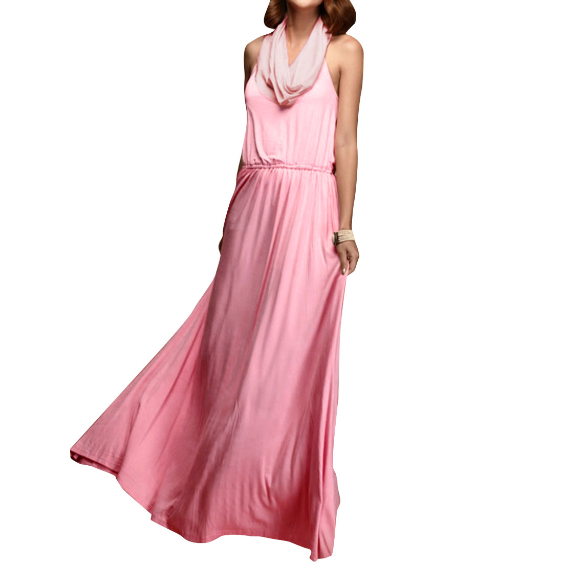 Ladies Cowl Neck Sleeveless Elastic Waist Maxi Dress Pink XS