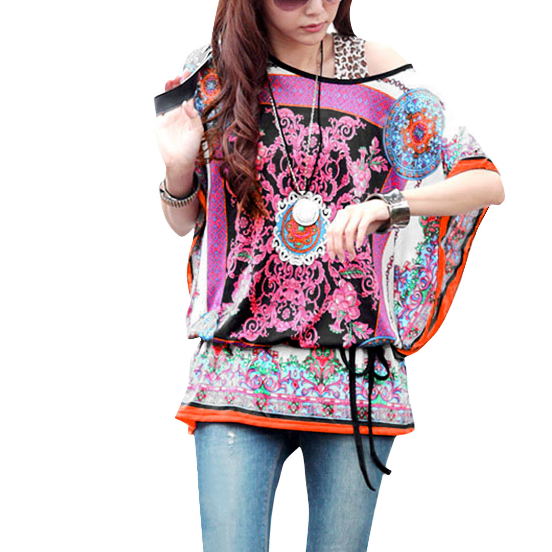 5889 Women Round Neck Batwing Sleeve Ethnic Pattern Tunic Shirt Multicolor XL/L (US 12)