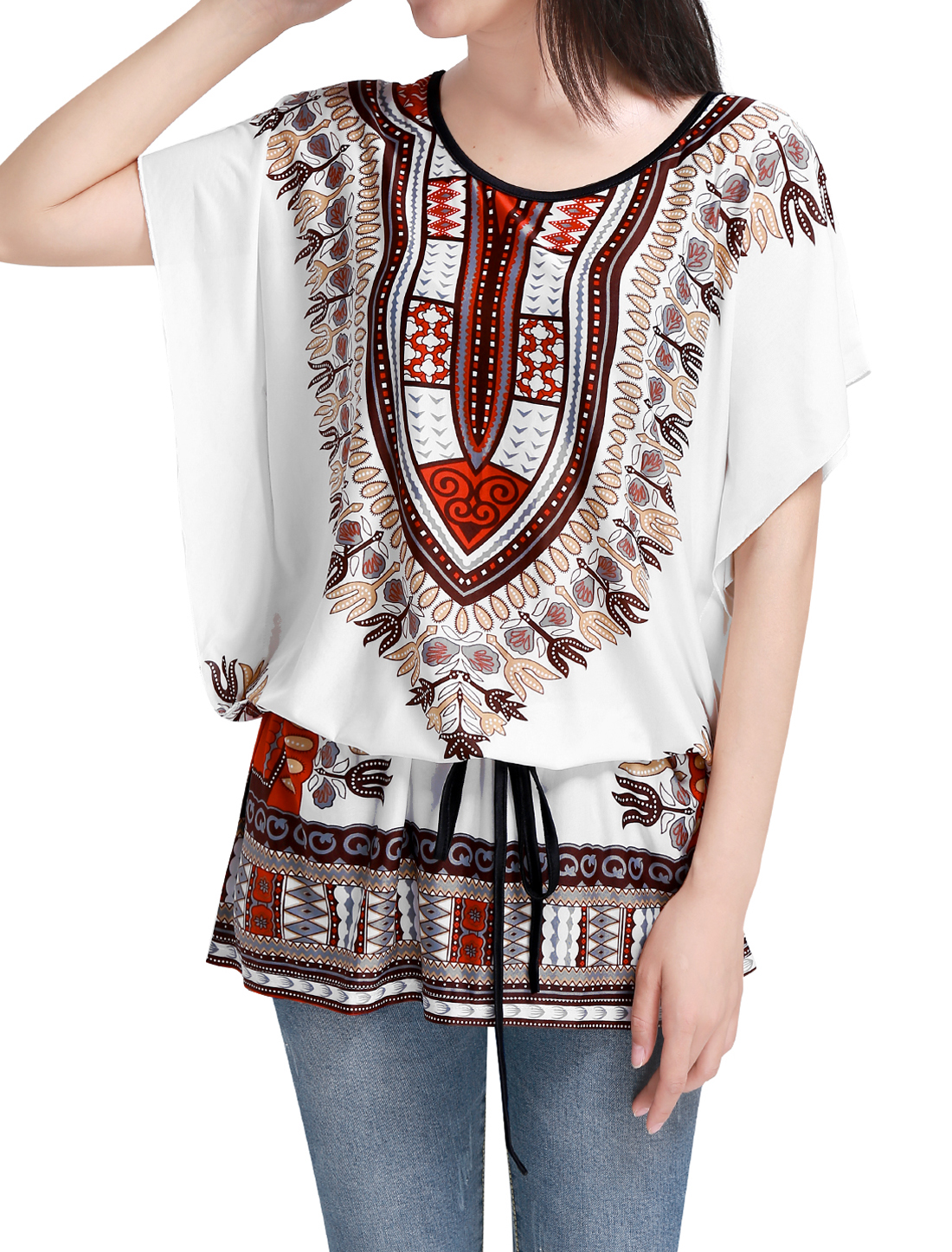 Women Beige M Round Neck Batwing Sleeve Semi Sheer Multicolor Tunic Shirt