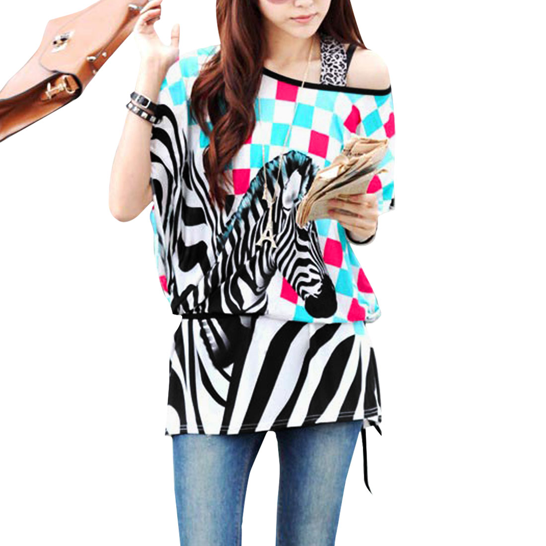 Lady Multicolor Round Neck Short Sleeve w Waist Belted Zebra Design Top M