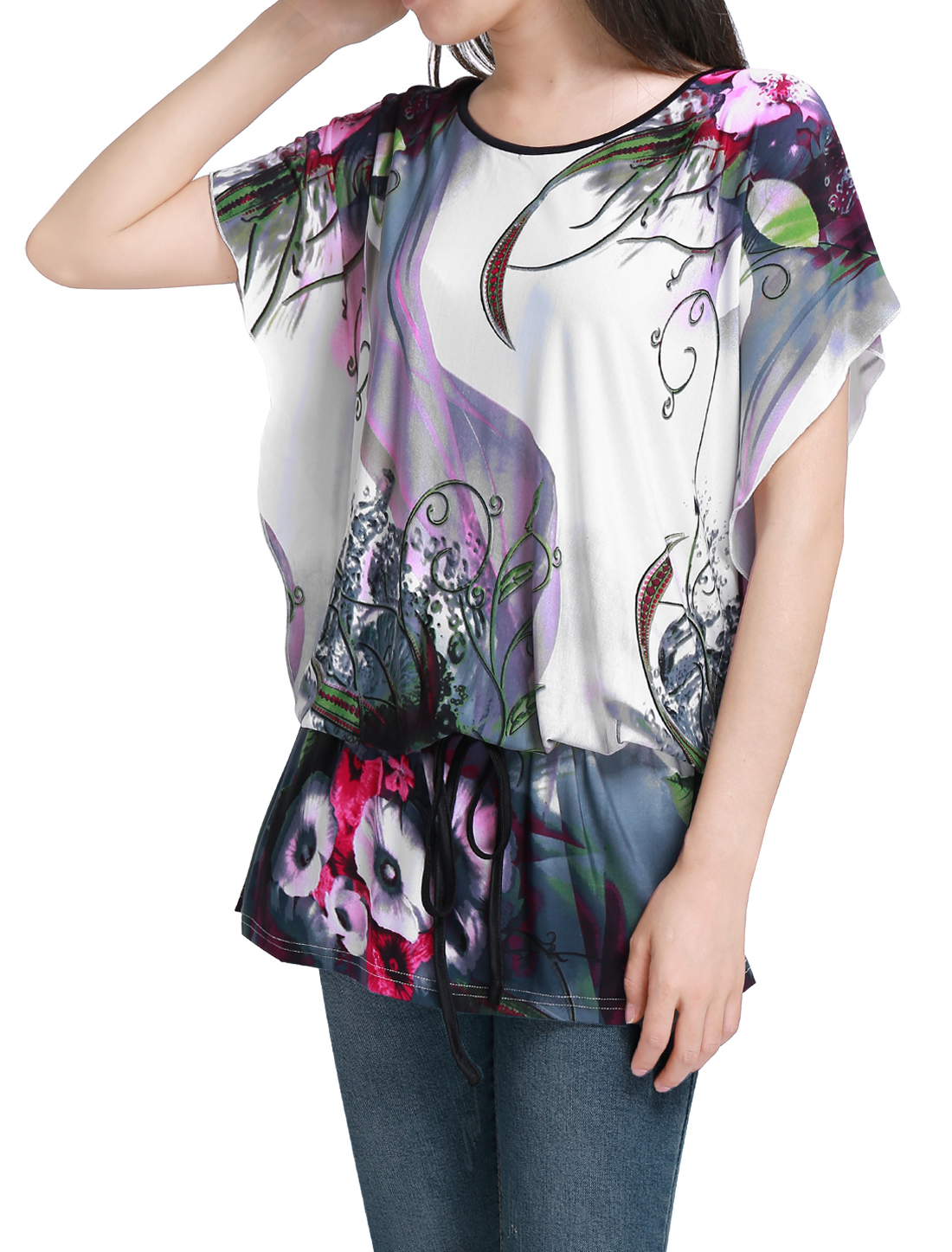 Ladies Floral Pattern Batwing Sleeve Semi Sheer Tunic Shirt Multicolor M
