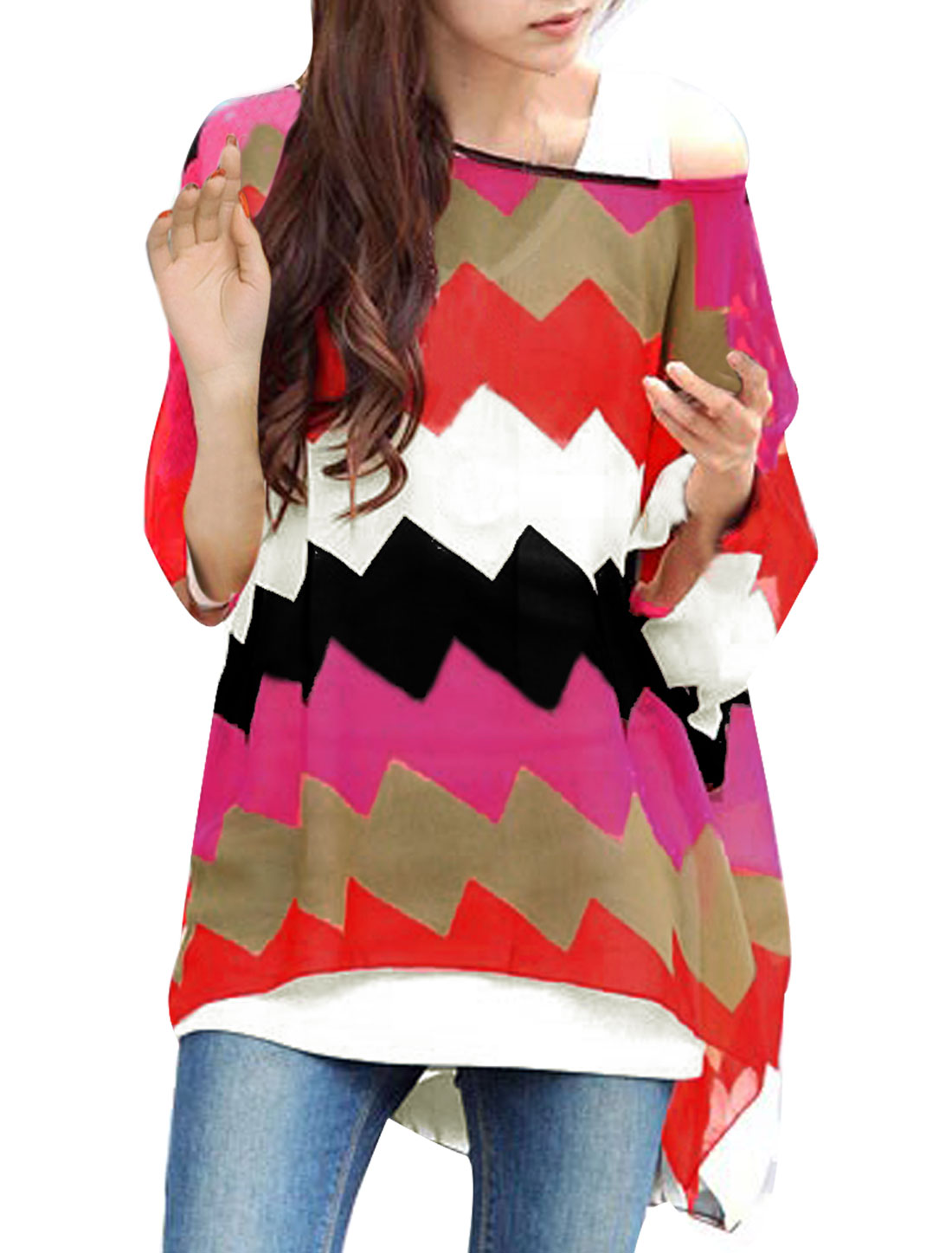 Ladies Round Neck Batwing Sleeve Color Block Pullover Blouse L Fuchsia Black