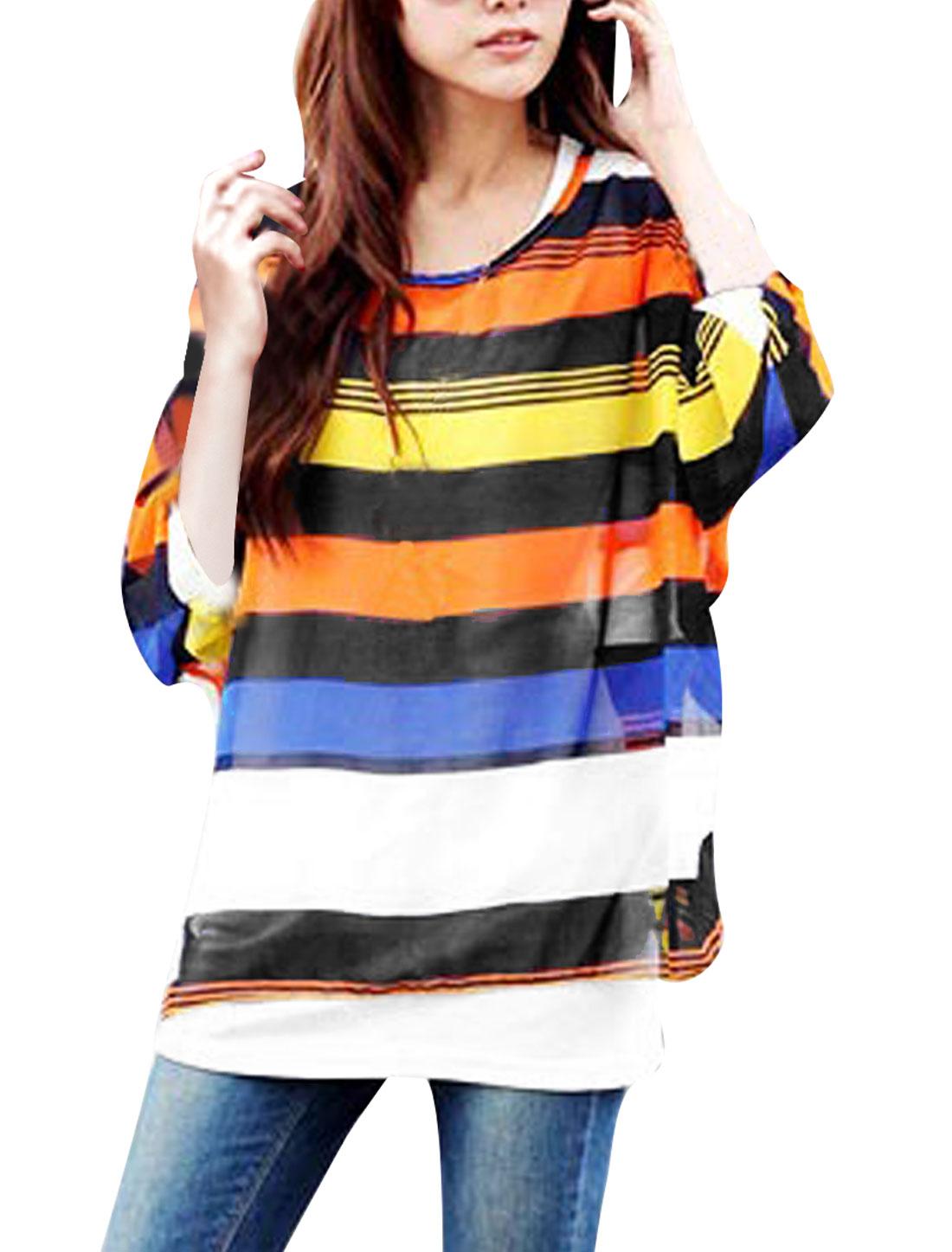 M Ladies Round Neck Style Stripes Print Blouse Orange White