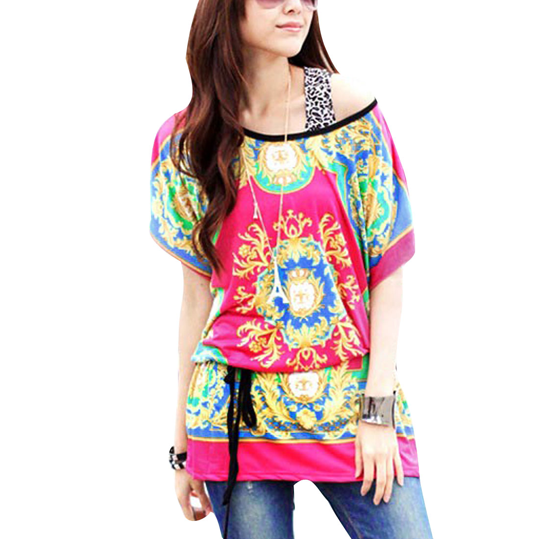 Ladies Muticolor Style Round Neck Batwing Sleeve Tunic Shirt Fuchsia L
