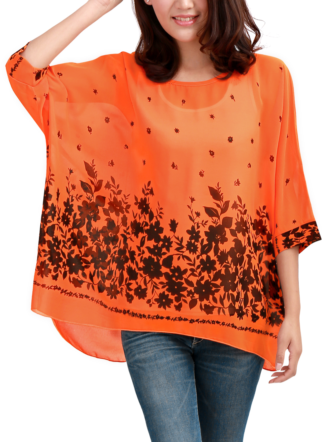 Lady Orange Batwing Sleeve Round Neck Flower Design Semi Sheer Top M