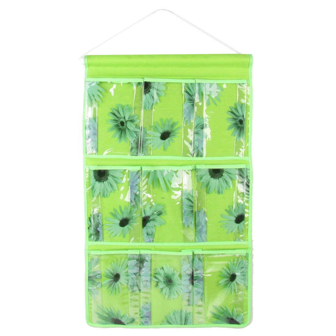 Sunflower Pattern 9 PVC Pockets Organizer Storage Bag Case Green