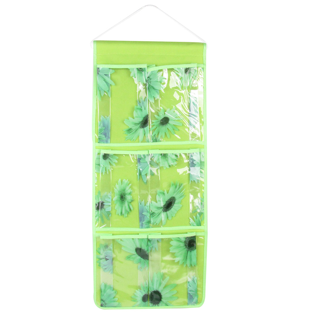 Sunflower Print 6 Compartment PVC Organizer Storage Bag Case Green