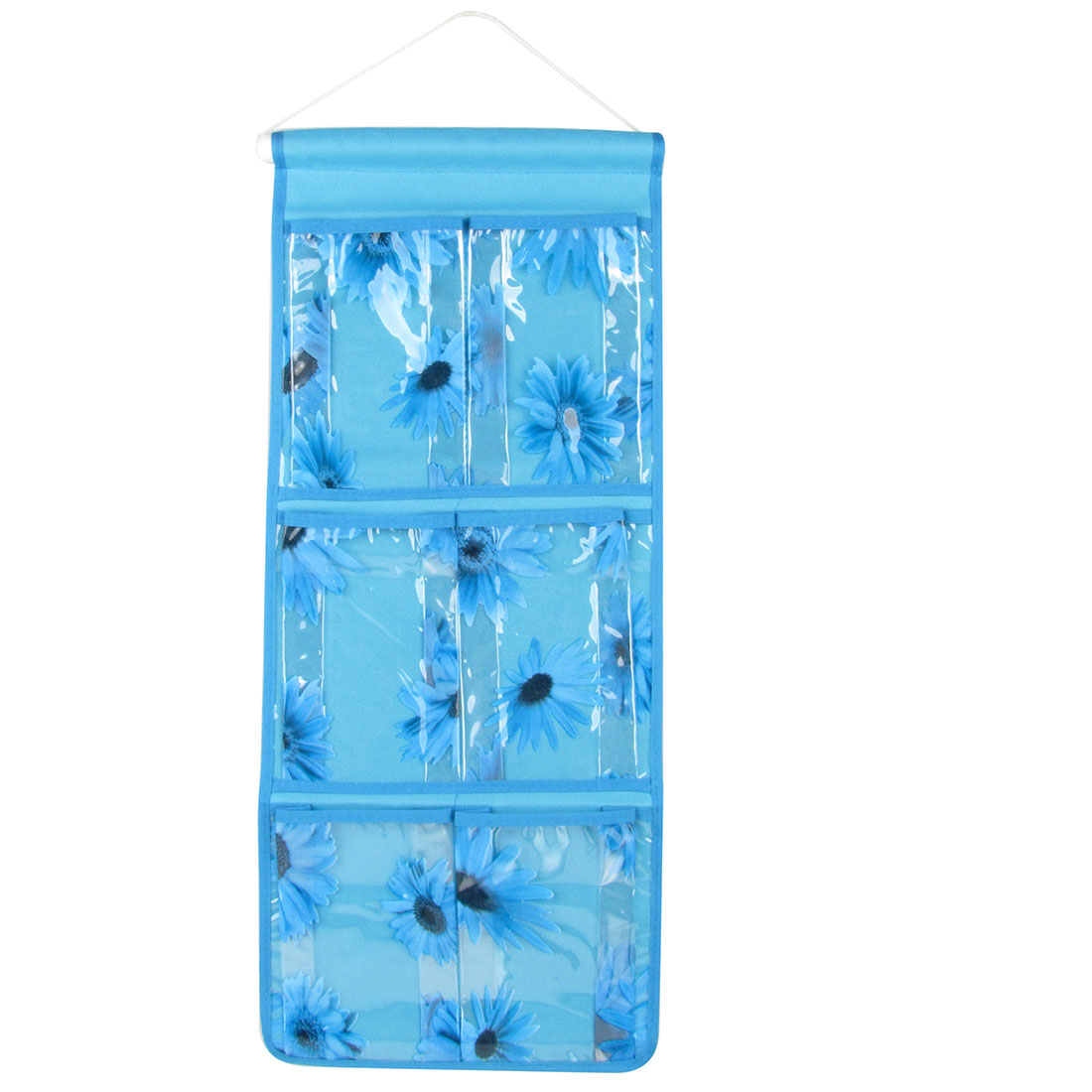 Blue Sunflower Pattern 6 PVC Compartment Organizer Storage Bag Case