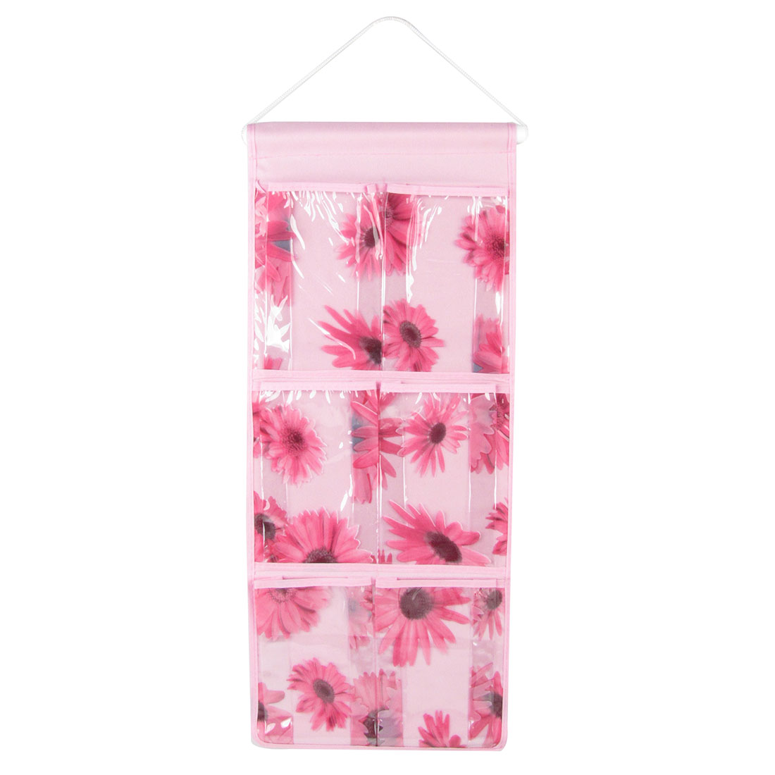 Pink 6 PVC Pockets Nylon Wall Hanging Storage Bag Organizer