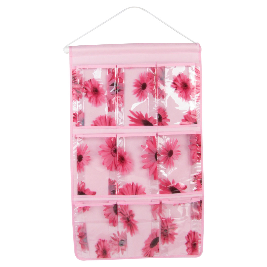Sunflower Print 9 Pockets PVC Organizer Storage Bag Pink w Hanging Stick