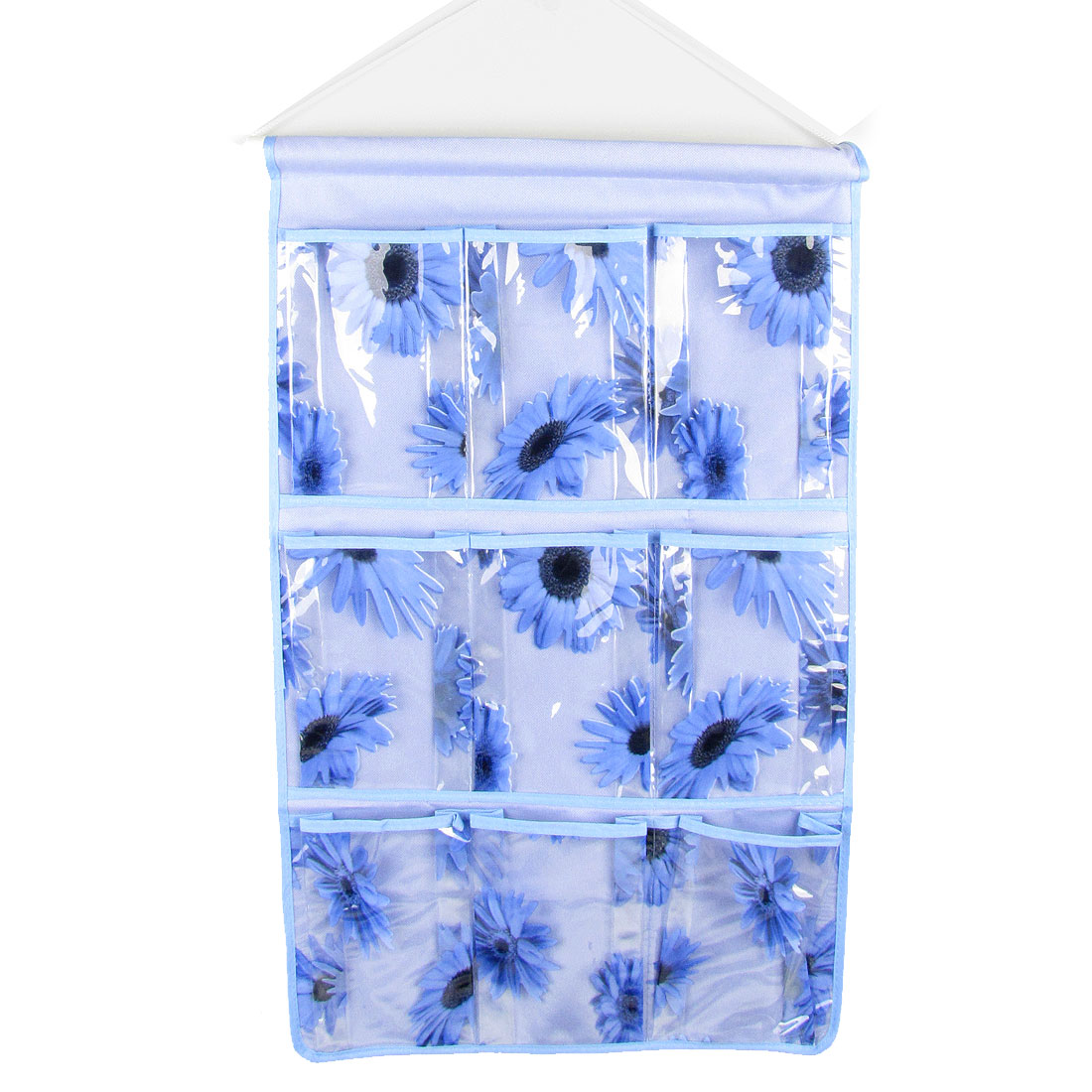 Sunflower Print 9 Pockets PVC Organizer Storage Hanging Bag Blue