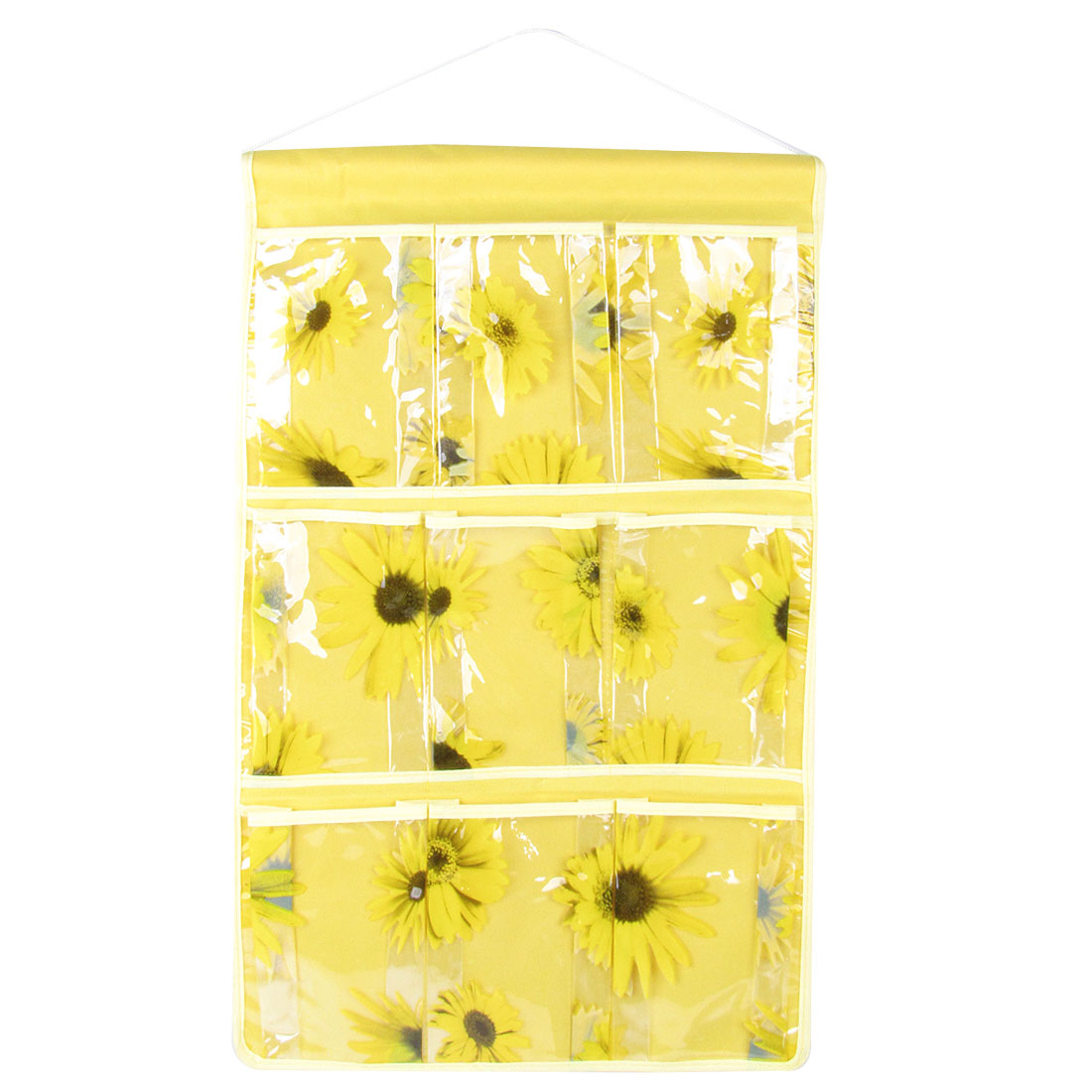 PVC 9 Compartments Home Organizer Hanging Pocket Bag Yellow