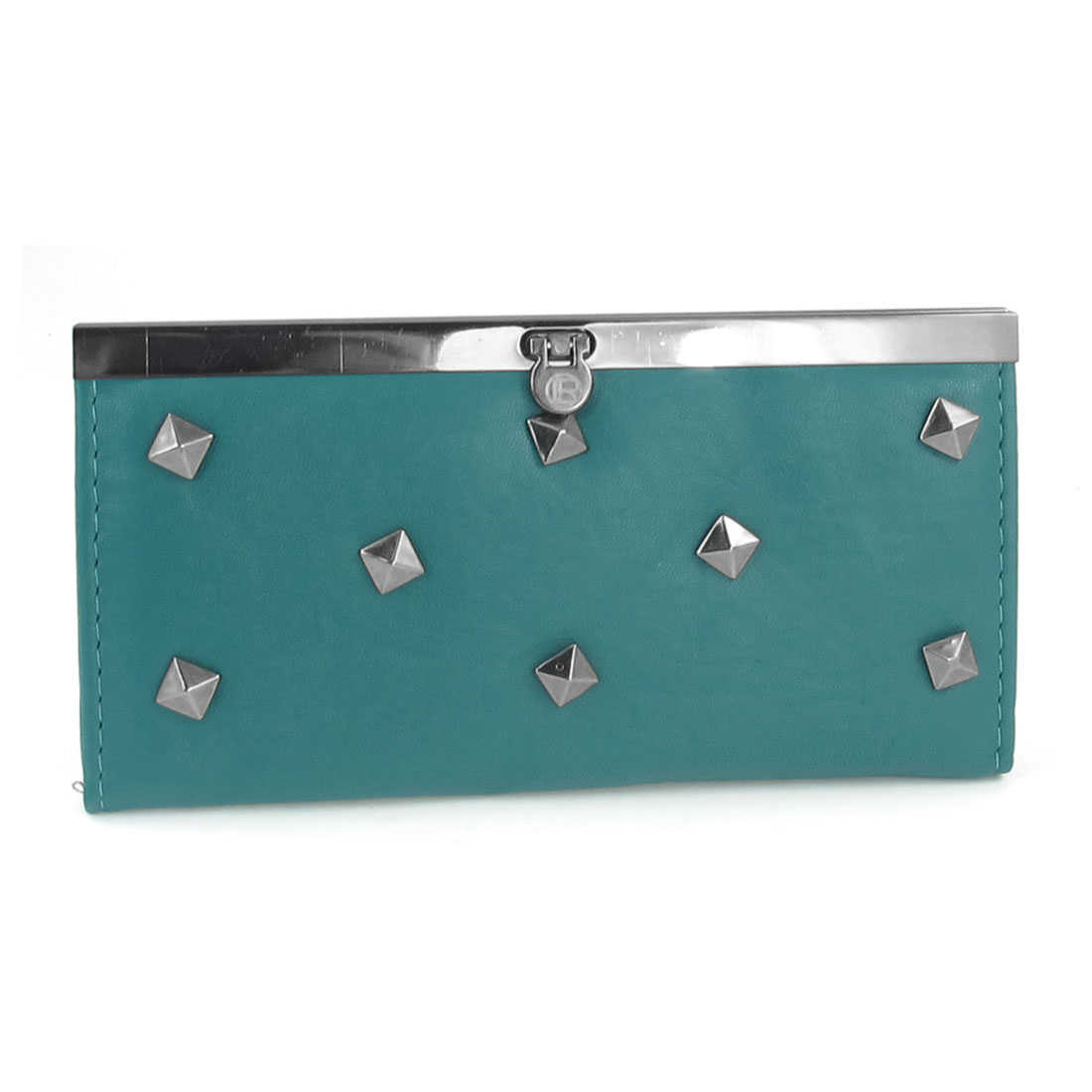 "7.5"" Length Metal Stub Ornament Rectangle Shaped Teal Blue Purse for Lady"