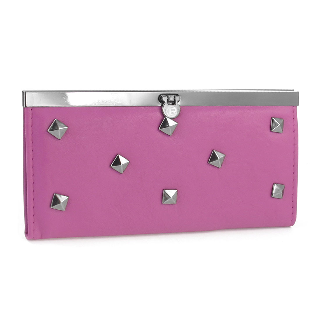 "7.5"" Length Stub Ornament Rectangle Fuchsia Faux Leather Purse for Lady"